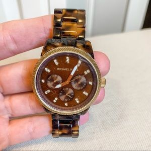 Michael Kors gold and tortoise chronograph watch